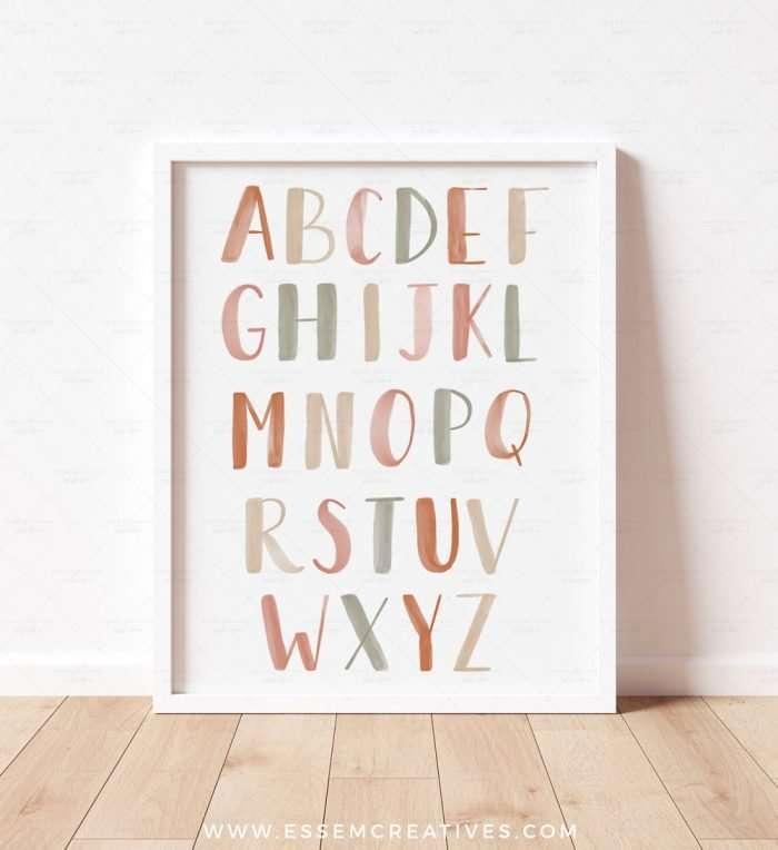 Printable Alphabet Poster, Neutral Boho ABC Print for Nursery Decor, Playroom Decor