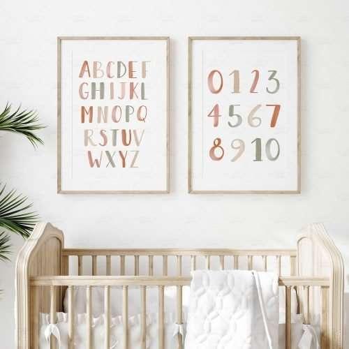 Printable Alphabet and Numbers Poster, Neutral Boho ABC Print for Nursery Decor, Playroom Decor, Gender Neutral Nursery Prints
