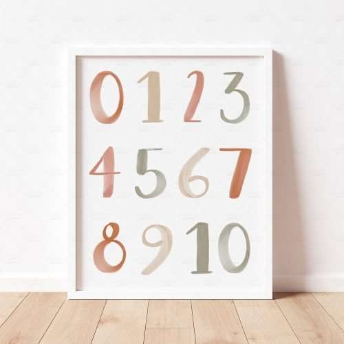 Printable Numbers Poster, Neutral Boho 0-10 Numbers Print for Nursery Decor, Educational Playroom Decor, Homeschool Prints