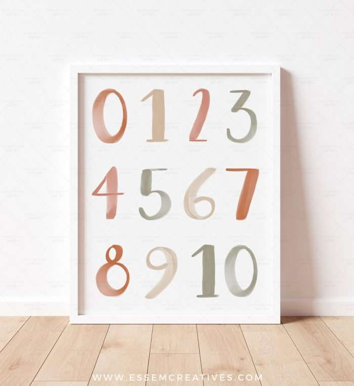 Printable Numbers Poster, Neutral Boho 0-10 Numbers Print for Nursery Decor, Educational Playroom Decor, Homeschool Prints