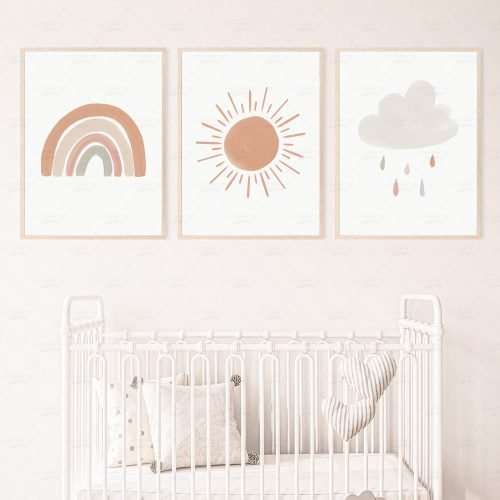Set of 3 Boho Sun Rainbow Cloud Prints, Printable Gender Neutral Nursery Prints Gallery Wall Set for Kids Room, Playroom Decor Wall Art