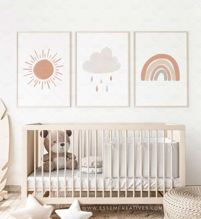 Set of 3 Boho Sun Rainbow Cloud Prints, Printable Gender Neutral Nursery Prints Gallery Wall Set for Kids Room, Playroom Decor Wall Art