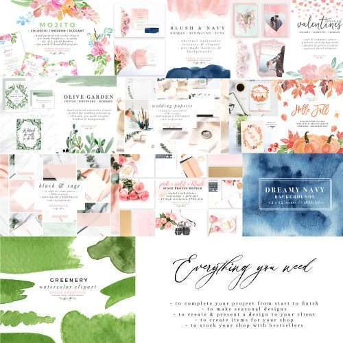 Essem Creatives Bestseller Bundle - Watercolor Floral Clipart and Styles Stock Photos and Mockup Bundle - 95% OFF Limited Time Offer