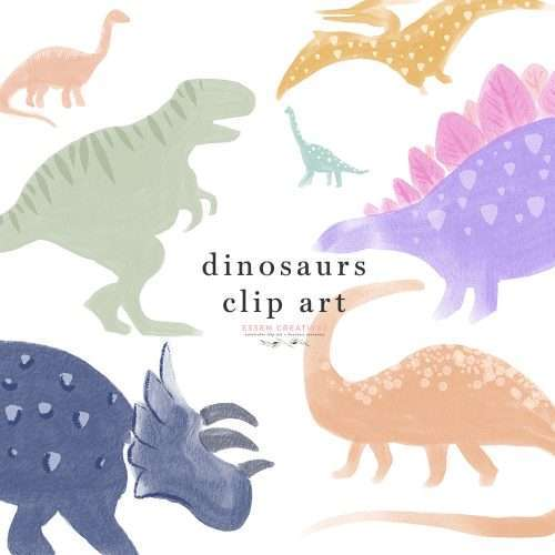 Cute and Colorful Hand Drawn Dinosaurs Illustrations Clip art for Dino 1st Birthday Party Invites Stickers Signs Printable Digital PNGs | Design your little one's birthday party invitations, roar / dino event signage and decor or print them out as posters for their room, or print them on things as dinosaur sublimation art. Dinosaurs include Tyrannasaurus or T-Rex, Brontosaurus, Stegosaurus, Spinosaurus, Brachiosaurus, Pteranodon, Styracosaurus