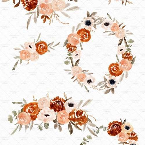 Orange Watercolor Flowers Clipart, Boho Rustic Fall Floral Wreath Frames Borders with Transparent Background | Floral watercolour wedding invitations, save the date card, gender reveal party invites, gender neutral baby shower invitations, posters flyers, scrapbooking resources, surface pattern illustration, digital planner stickers, flower logo & brand design, nursery decor, photography backdrop, card borders | Click to see more>>