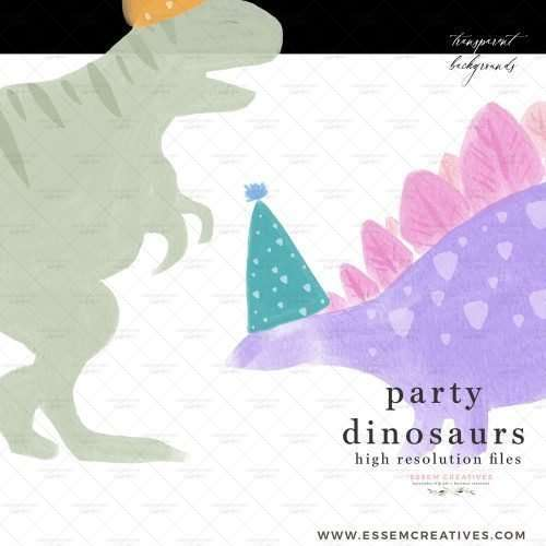 Party Dinosaurs in Hats Clipart graphics, whimsical dino illustrations for T-Rex birthday party template for kids | These playful dinosaurs in party hats are the perfect digital downloads to add to your kid's birthday party invitations. Print them out large and cut them out as signs, print them as cupcake toppers, use them to make birthday signs, favor tags and labels, party hats. Sublimate them on dino and t-rex theme birthday t-shirts, coffee mugs and tumblers.
