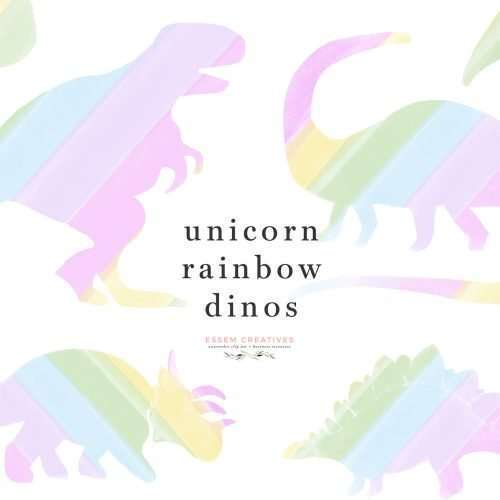 Unicorn Dinosaur Silhouettes in rainbow colors as digital clip art PNG files with transparent background | These cute unicorn dinosaur silhouettes in rainbow ombre colors are perfect for kids birthday party designs. Make unicorn rainbow dinosaur 1st birthday party invites, favor tags and labels. Print them out to put on cupcake toppers, party hats, create menus and custom banners with them. These will be the perfect artwork for your unicorn and dino loving kid.