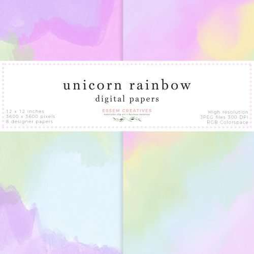 Unicorn Rainbow Digital Papers for Scrapbooking, Card Background Template | Unicorn Rainbow theme digital papers as 12x12 inch JPEG files. Perfect for scrapbooking, functional planner stickers like header labels, flag stickers etc. They work well as unicorn and rainbow theme card backgrounds, photo album backgrounds, photography backdrop as well. You can also print them out directly for a variety of uses. Commercial Use License available.