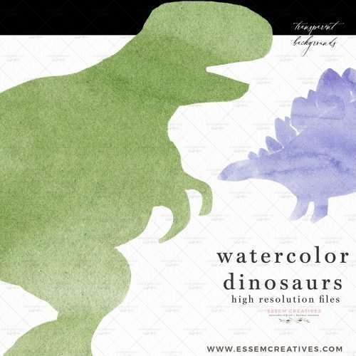 Watercolor Dinosaur Clipart, Colorful Dino Silhouettes for Birthday Party Invites and Decor | This set of playful watercolor dinosaur silhouettes clip art are perfect for creating 1st birthday party invitations, boy baby shower decor items, children's playroom decor. They will also work well as dinosaur sublimation prints on on t-shirts, mugs, tumblers, etc. As they are digital files, you can also create digital invites and designs using these - like planner stickers!