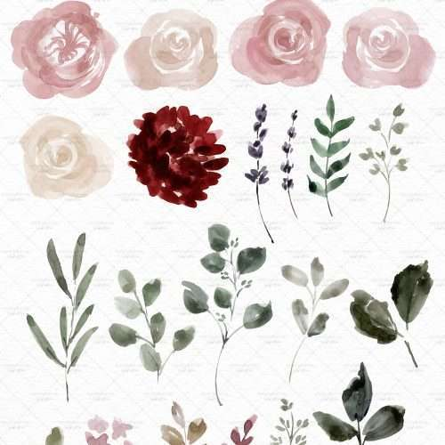 Watercolor floral clip art in navy blue and deep red, floral border PNG for fall wedding invitation templates | These are great for fall wedding invitations and thanksgiving invitations. You can also print them out for your wedding events signage and collaterals like thank you cards, favor tags and labels, menus, wedding welcome sign, seating chart. These vibrant blue and red flowers clipart in a modern watercolor hand painted style will enhance your designs and leave your guests impressed.