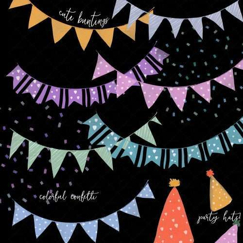 Watercolor party clipart of colorful hats buntings banners and streamers. PNG files with transparent backgrounds.Simple but fun and colorful birthday party invitation for your little one's birthday bash that is sure to impress everyone, but on a budget, then this is the resource you're looking for! DIY birthday party invite, signs, thank you cards, favors tags and digital buntings, banners, party hats and colorful confetti - commercial use graphics