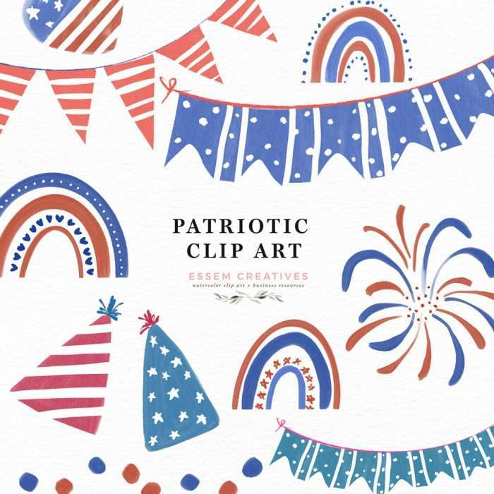 4th of July clip art patriotic rainbows illustrations fireworks balloons banners hats barbecue graphics | There is an American flag heart, balloons and fireworks. The blue red and white patriotic rainbow clip art PNGs are perfect for sublimation crafts and print and cut projects. Decorate your 4th of July BBQ barbecue party - invitations, menus, signs, cut out banners, cupcake toppers, flags, gift labels and tags and stickers with these watercolor clip art.
