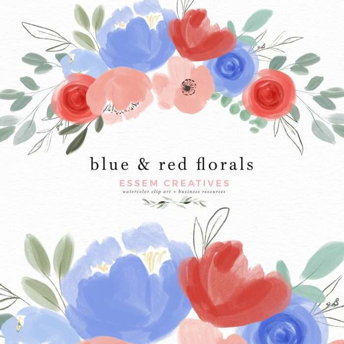 Blue and red flowers clip art, 4th of july patriotic floral clipart, Floral wreath clip art flower borders | Blue and red flowers are a timeless color combination suitable for many designs like birthday party invitations, wedding invitations, 4th of july celebrations, baby showers, gender reveal parties. Use these vibrant watercolor floral clip art in blue, red and white to create the perfect designs that make your designs look professional (without breaking the bank!).
