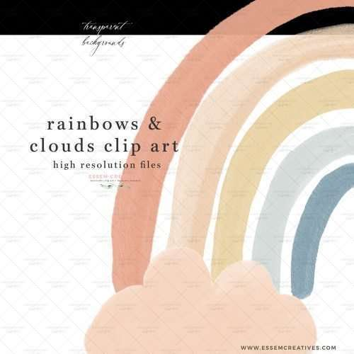 Boho rainbow and clouds clip art in bright pastel colors painted in watercolors for baby shower birthday announcement | This boho cloud and rainbow theme is very popular for all things baby. Use these to create baby birth announcements, nursery decor prints, birthday party invitations, creative designs for a baby shower party. These are great for gender neutral designs as well. They are PNG files which work well for sublimation prints, and for print and cut projects on cricut and silhouette.