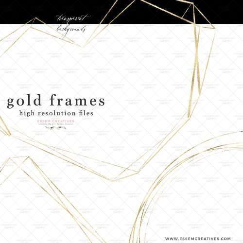 Empty Gold Geometric Frames Borders Clip Art Metallic Polygonal Crystal Shapes | watercolour wedding invitations, save the date card, gender reveal party invites, gender neutral baby shower invitations, posters flyers, scrapbooking resources, surface pattern illustration, digital planner stickers, flower logo & brand design, nursery decor, photography backdrop, card borders | Click to see more>>