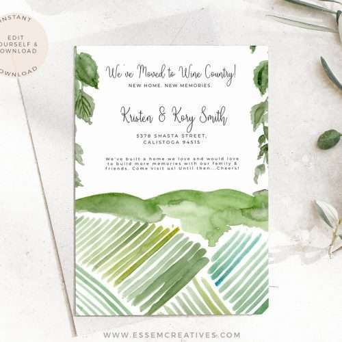 Watercolor Vineyard Template, Moving Announcement Card We've Moved House New Home Card | This is an Instant download digital file for you to edit right in your web browser/mobile/tablet with Corjl after purchase. Make your design look exactly the way you want them to. You can change the font, change the layout, add more text, delete text, move artwork around. Try out the demo link below.