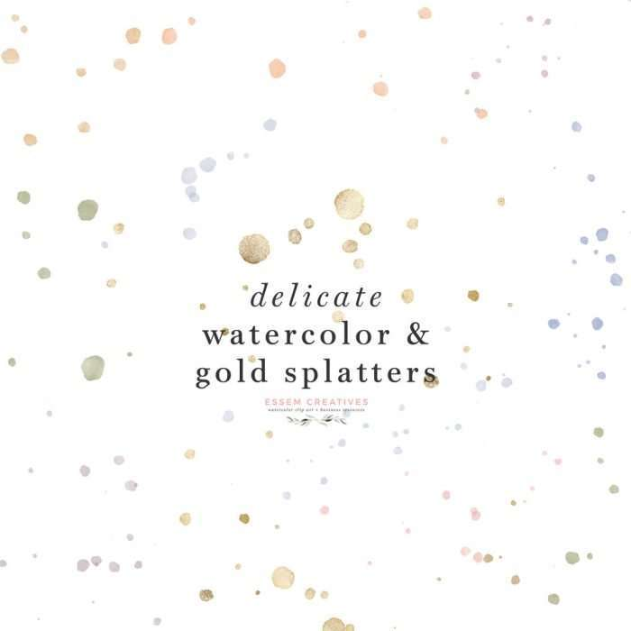 Watercolor ink splatters, Gold overlays confetti splash splodge clip art with transparent backgrounds | Whether you are designing birthday party invites, wedding invitations, welcome signs, logo and brand identity or even social media posts, these little accents will elevate your designs and will leave your guests and clients wondering how you got it to look so real and authentic. Commercial use license available>>