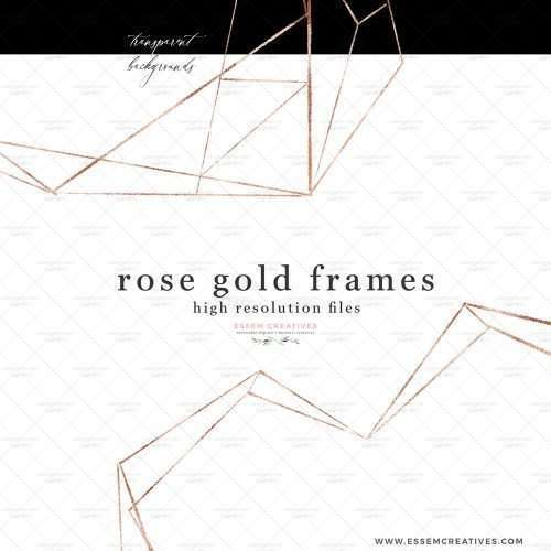 Empty Rose Gold Geometric Frames Border Clipart PNG Metallic Polygonal Crystal Shape | watercolour wedding invitations, save the date card, bridal shower invitations & games, gender neutral baby shower invitations, posters flyers, scrapbooking resources, surface pattern illustration, digital planner stickers, flower logo & brand design, nursery decor, photography backdrop, card borders | Click to see more>>
