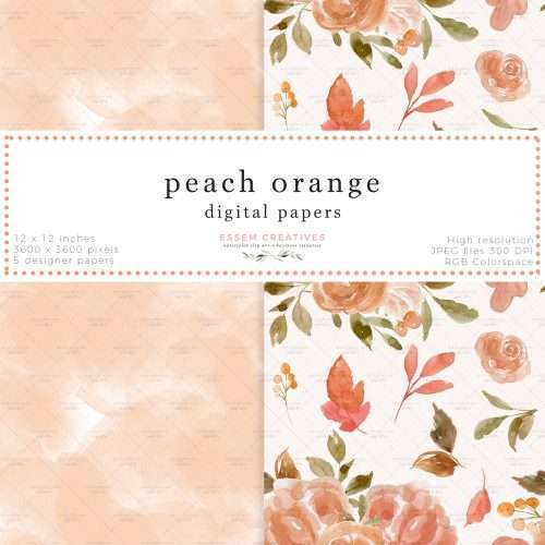 Peach Orange Fall Floral Digital Papers for Scrapbook Album Design Fabric Printing Card Background Template | These are seamless repeat patterns with a floral print. Also included is one peach seamless watercolor pattern. Perfect for scrapbooking, functional planner stickers like header labels, flag stickers etc. They work well for floral watercolour card backgrounds, photo album backgrounds, photography backdrop as well. You can also print them out directly for a variety of uses>>