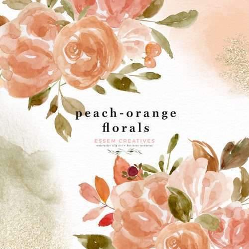 Peach Orange Floral Clipart, Watercolor Flower Wreath Border Frame for Wedding Invites Logo Branding | These are great for fall wedding invitations and thanksgiving invitations. You can also print them out for your wedding events signage and collaterals like thank you cards, favor tags and labels, menus, wedding welcome sign, seating chart. These vibrant blue and red flowers clipart in a modern watercolor hand painted style will enhance your designs and leave your guests impressed.