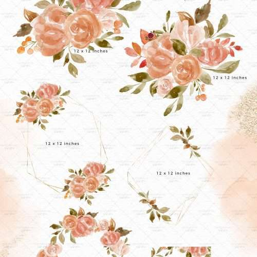Peach Orange Floral Clipart, Watercolor Flower Wreath Border Frame for Wedding Invites Logo Branding   These are great for fall wedding invitations and thanksgiving invitations. You can also print them out for your wedding events signage and collaterals like thank you cards, favor tags and labels, menus, wedding welcome sign, seating chart. These vibrant blue and red flowers clipart in a modern watercolor hand painted style will enhance your designs and leave your guests impressed.