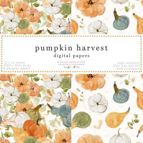 Pumpkin Harvest Fall Floral Digital Papers for Scrapbook Album Design Fabric Printing Thanksgiving Invitation | Floral watercolour wedding invitations, save the date card, gender reveal party invites, gender neutral baby shower invitations, posters flyers, scrapbooking resources, surface pattern illustration, digital planner stickers, flower logo & brand design, nursery decor, photography backdrop, card borders | Click to see more>>