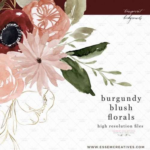 Burgundy Blush Floral Clipart, Watercolor Fall Flower Wreath Border Frame for Wedding Invites Logo Branding | These are great for fall wedding invitations and thanksgiving invitations. You can also print them out for your wedding events signage and collaterals like thank you cards, favor tags and labels, menus, wedding welcome sign, seating chart. These vibrant blue and red flowers clipart in a modern watercolor hand painted style will enhance your designs and leave your guests impressed.