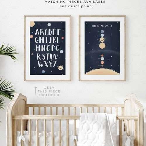 Printable Space Alphabet Poster, Navy Blue Solar System Print, Planets Boho ABC Art for Nursery and Playroom Decor