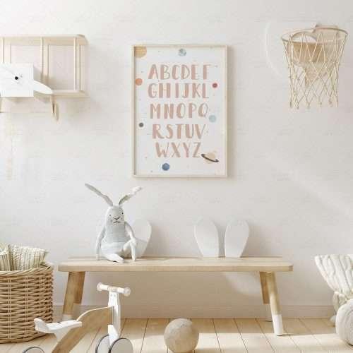 Printable Space Alphabet Poster, Solar System Print, Planets Boho ABC Art for Nursery and Playroom Decor