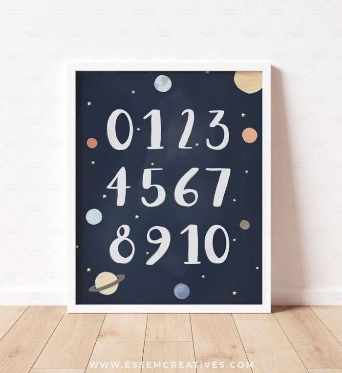 Printable Space Numbers Poster, Navy Blue Solar System Print, Planets 123 0-10 Educational Art for Nursery and Playroom Decor