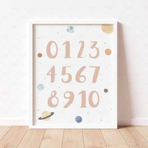 Printable Space Numbers Poster, Solar System Print, Planets Boho 123 0-10 Educational Art for Nursery and Playroom Decor