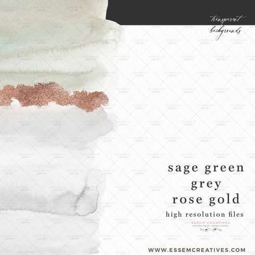 Sage Green Grey Rose Gold Watercolor Splash Textures Backgrounds Card Borders Clipart with transparent backgrounds | Abstract geometric watercolour wedding invitations, save the date card, gender reveal party invites, gender neutral baby shower invitations, posters flyers, scrapbooking resources, surface pattern illustration, digital planner stickers, sublimation png, nursery decor, photography backdrop, card borders | Click to see more>>