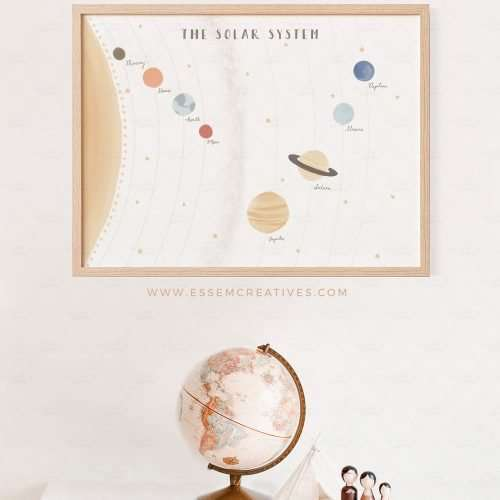 Solar System Poster, Horizontal Space Planets Print, Wall Art for Kids Nursery and Educational Playroom Printables